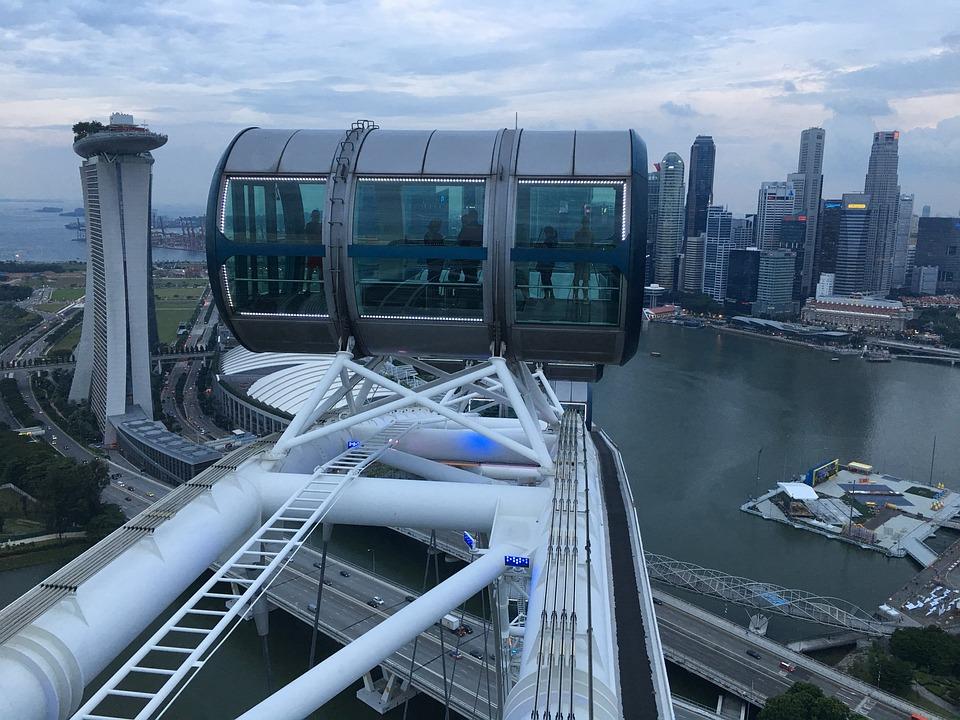 Singapore Flyer, Ferries Wheel, Singapore, Skyline