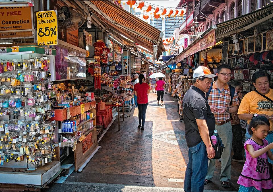 China Town, Singapore, Market, Shopping, Shoppers