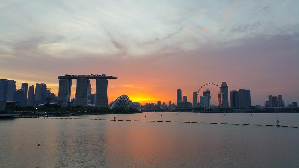 Singapore, Marina Bay Sands, Skyline, Sunset, Dusk