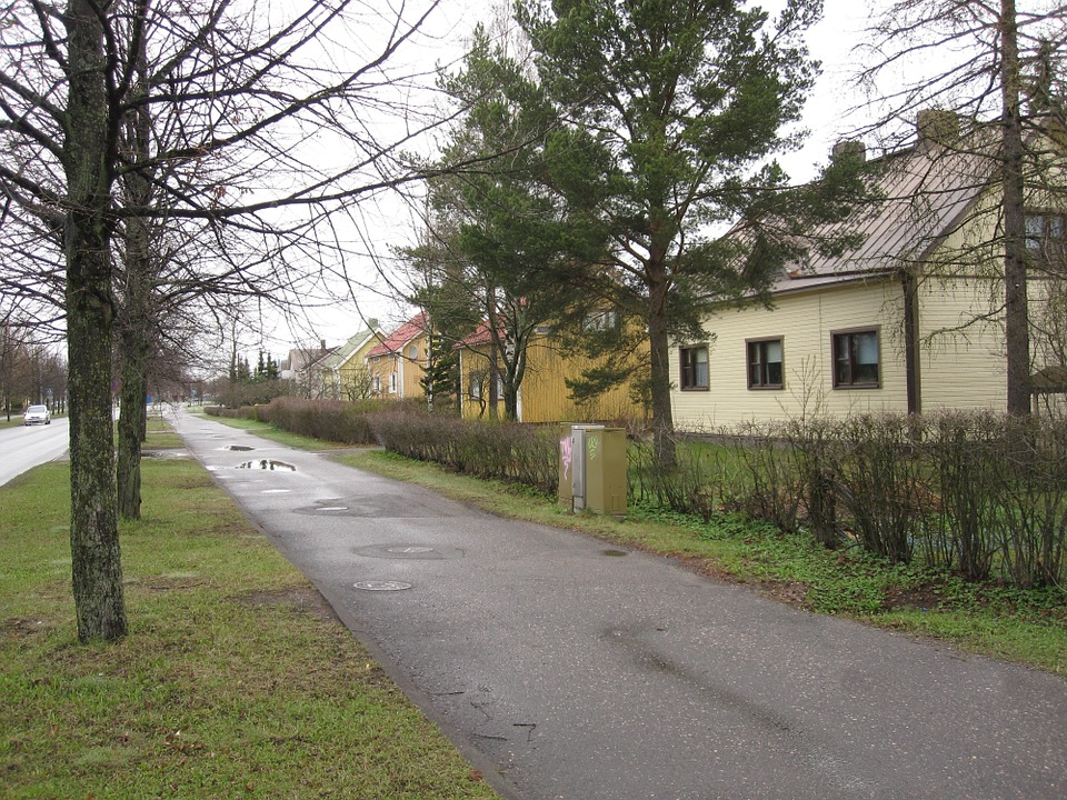Cycle Path, Single-family Houses, After The Rain