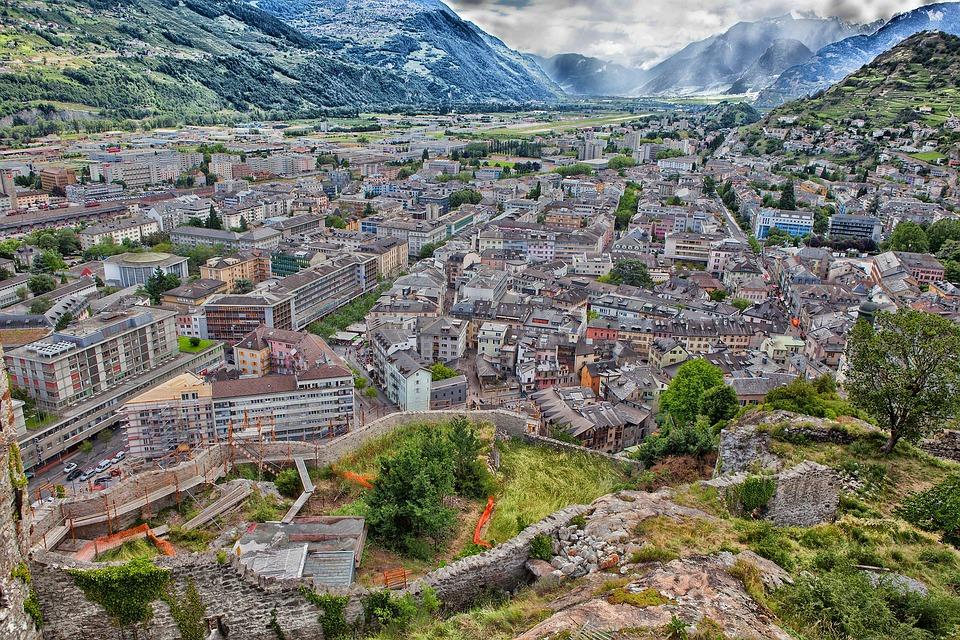Sion, Switzerland, City, Town, Skyline, Mountains