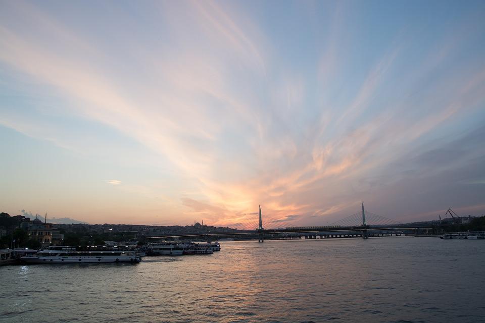 Sunset, Sirkeci, Eminönü, See, Marine, Cloud, Sky