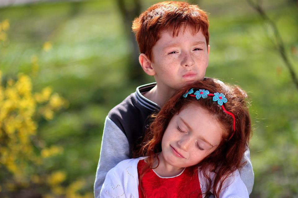 Brother, Sister, Red Hair, Freckles, Hug, Love, Pair