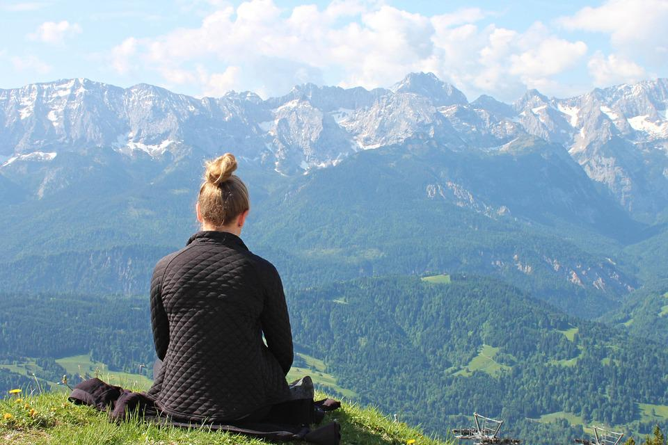 Meditation, Absorbed, Silent, Girl, Sit, Mountains
