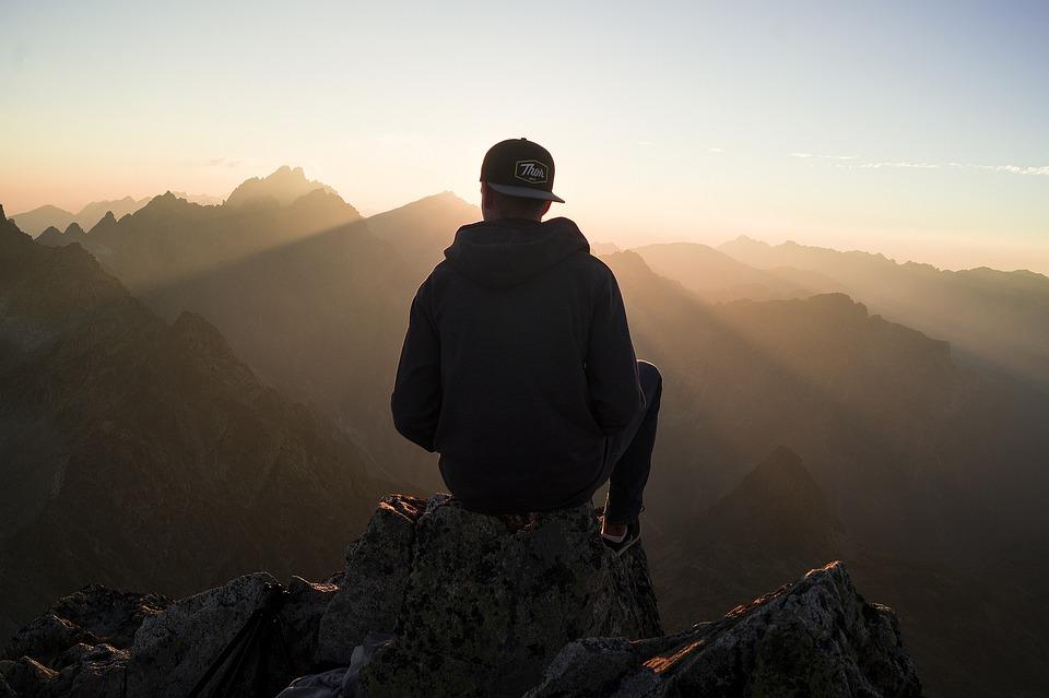 Man, Hiker, Mountains, Viewpoint, Sit, Sitting, Guy