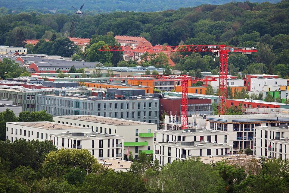 Potsdam, Site, Blocks, Cranes, Build, View, Houses