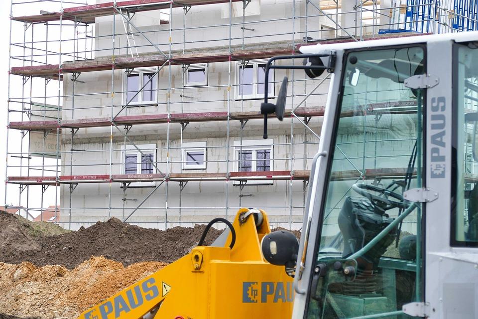 Site, New Building, Scaffold, Build, Excavators