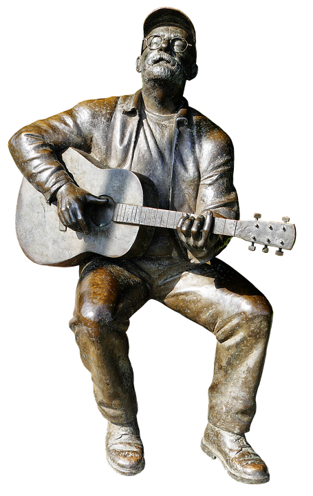 Free photo Sitting Guitarist Still Image Bronze Statue Figure - Max Pixel