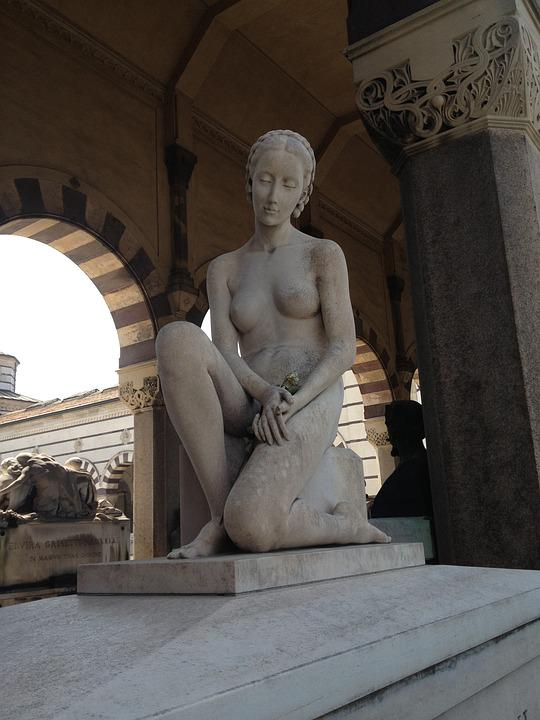 Statue, Sculpture, Italy, Milan, Woman, Nude, Sitting