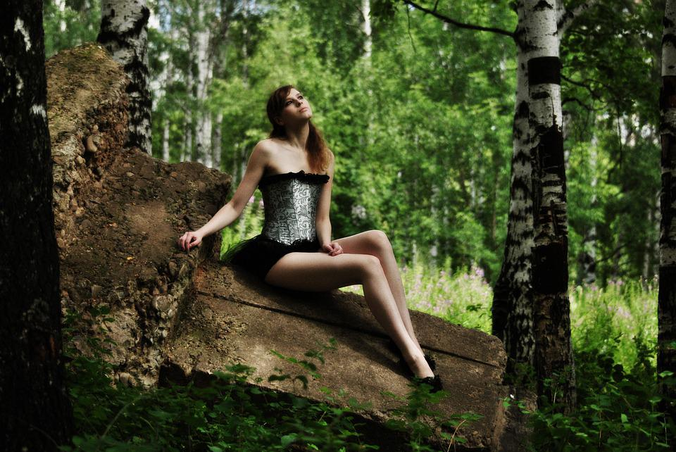 Fabulous Girl, On The Stone, Sitting, In A Corset