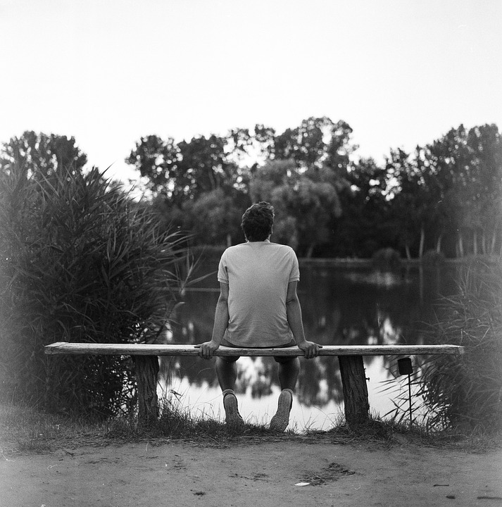 Sitting, Bench, Gloomy, Lifestyle, Park, People, Young