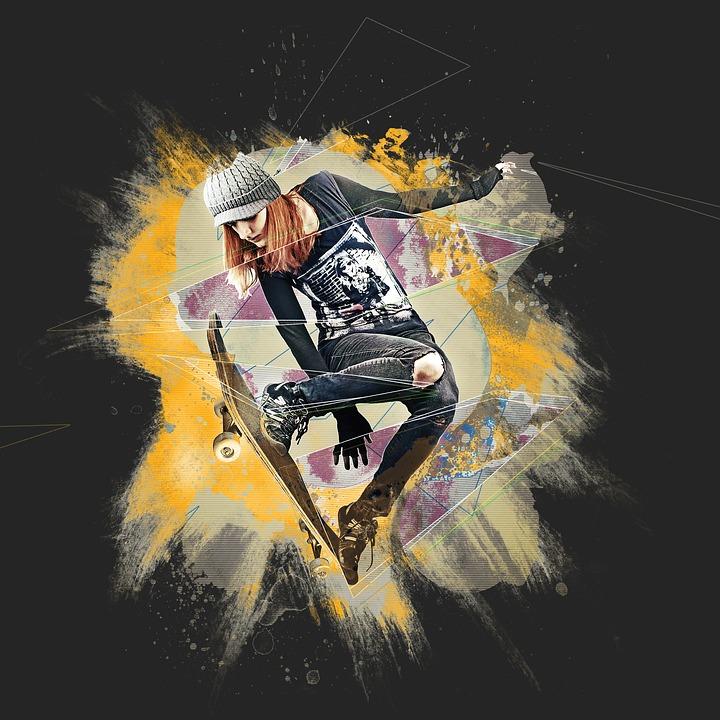Skateboard, Skateboarder, Person, Jumping, Girl, Woman