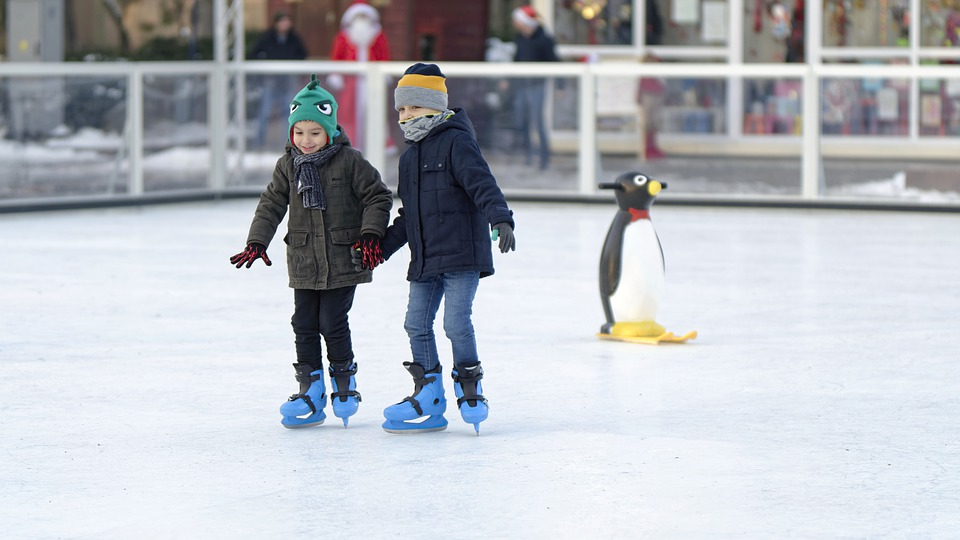 Kids, Skating, Together, Winter, Ice, Skates, The Rink