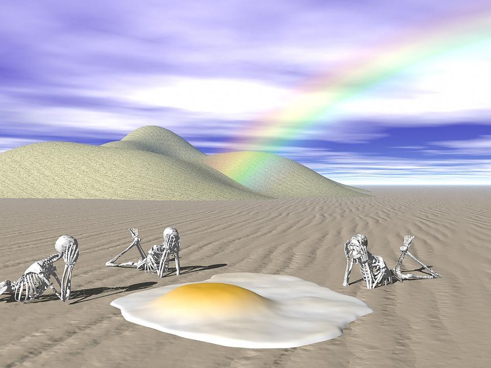 Surreal, Dali, Strange, Funny, Egg, Skeleton