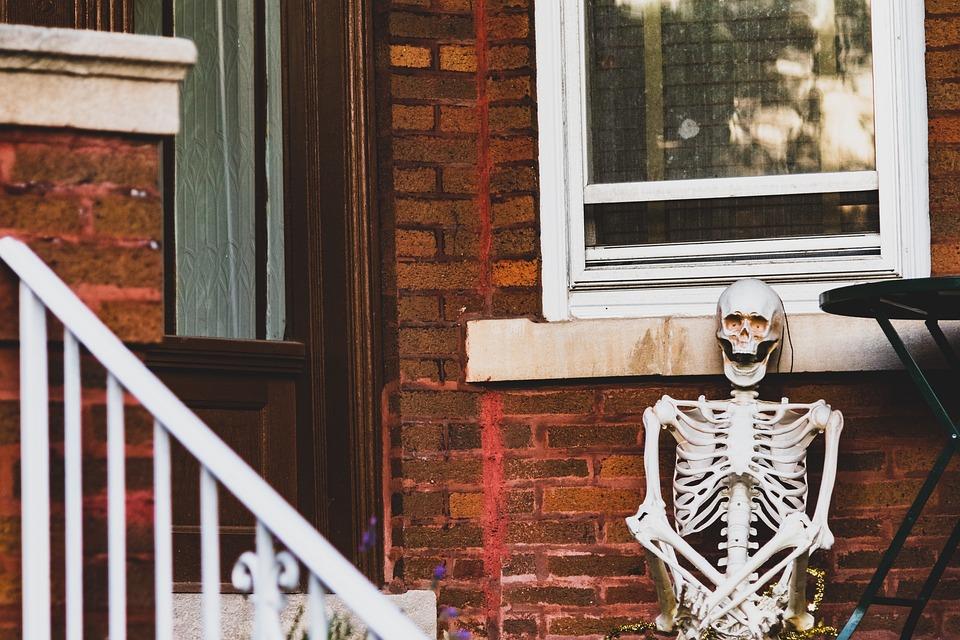 Halloween, Skeleton, House, Creepy, Horror, Scary