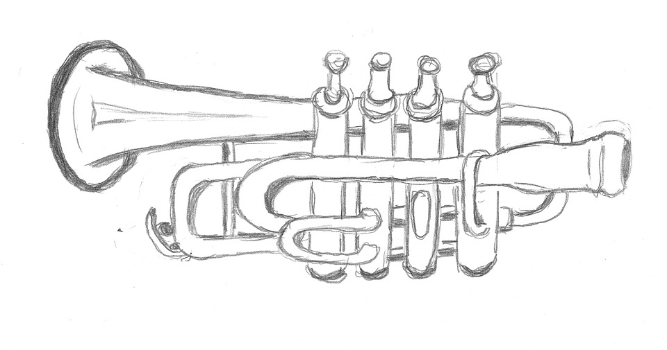 Drawing, Trumpet, Sketch, Paint, Image