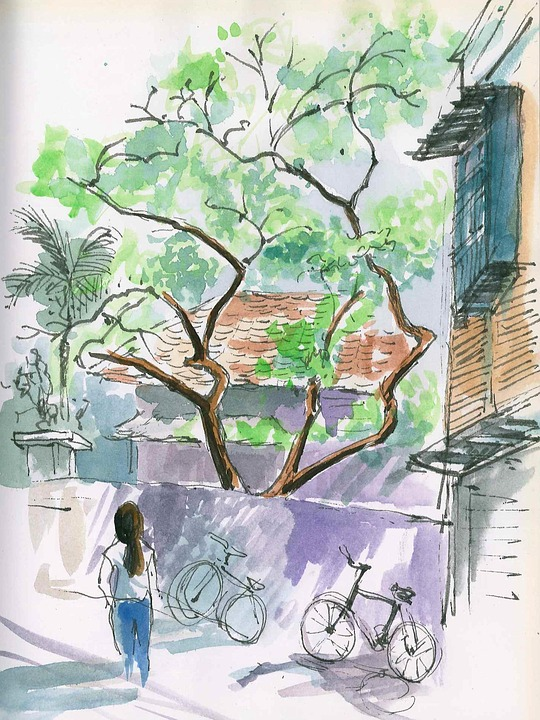 Sketch, Painting, City, Watercolor, Street