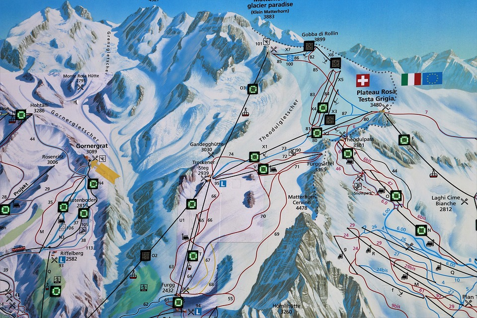 Map, Zermatt, The Alps, Switzerland, Tops, Snow, Ski
