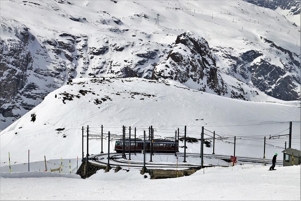 Zermatt, Ski, Skiing, Railway, Railroad Tracks, Wagons