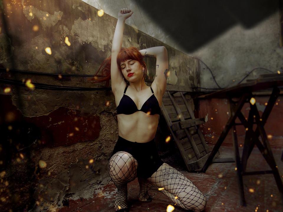 Model, Redhead, Lingerie, Body, Sensual, Skin, Posing