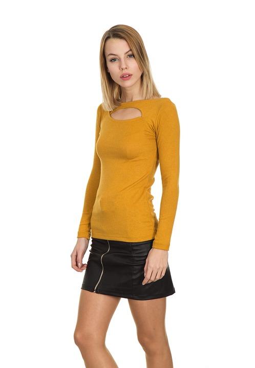 Model, Mannequin, Yellow, Skirt, Leg, Pretty Girl