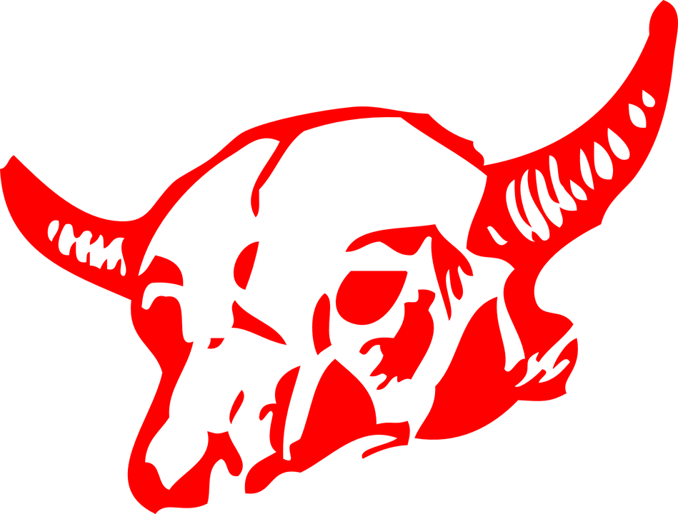 Skull, Bull, Cow, Bovine, Head, Red, Drawing, Horns