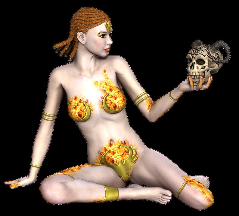 Girl, Warrior, Fantasy, Hair, 3d, Skull, Horn, Sitting