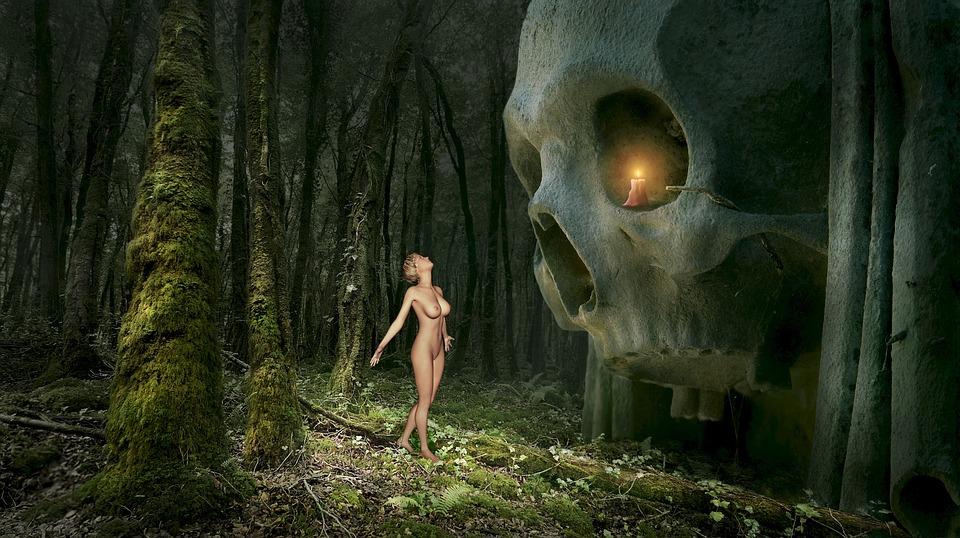 Fantasy, Forest, Skull And Crossbones, Skull, Monument
