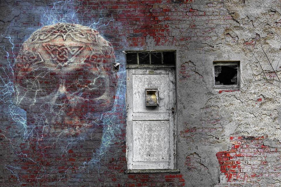 Haunted House, Skull, Brick, Wall, Door, Vintage