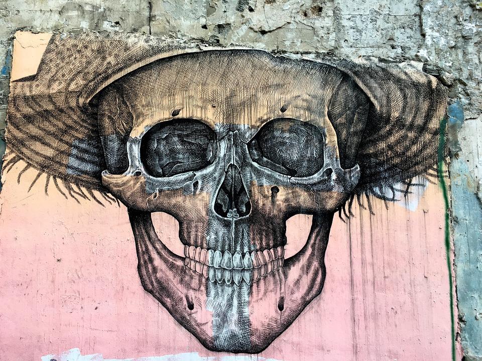 Skull, Mural, Street Art, Wall, Drawing