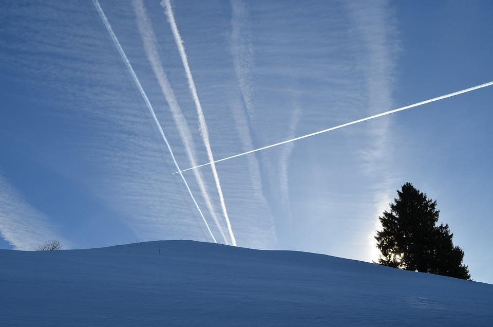 Contrail, Winter, Sky, Aircraft