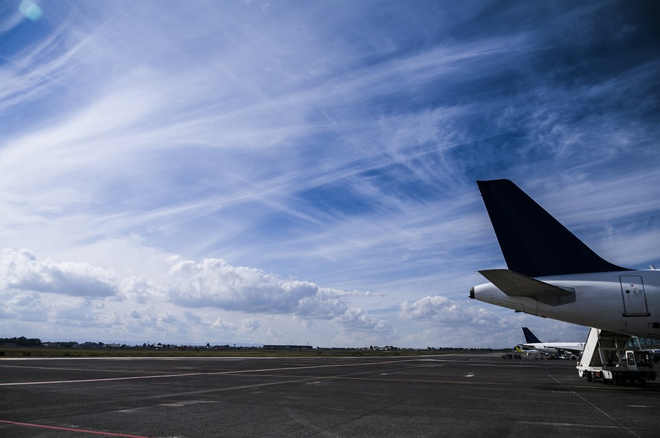 Airplane, Tail, Sky, Runway, Cloud, Cirrus Clouds