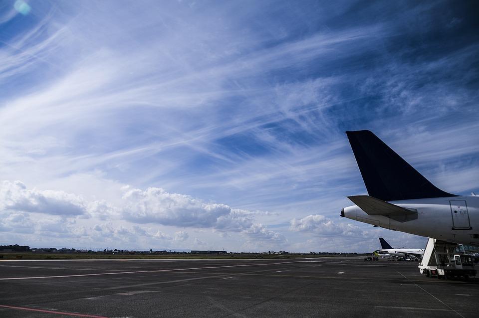 Airplane, Tail, Sky, Runway, Cloud, Cirrus Clouds