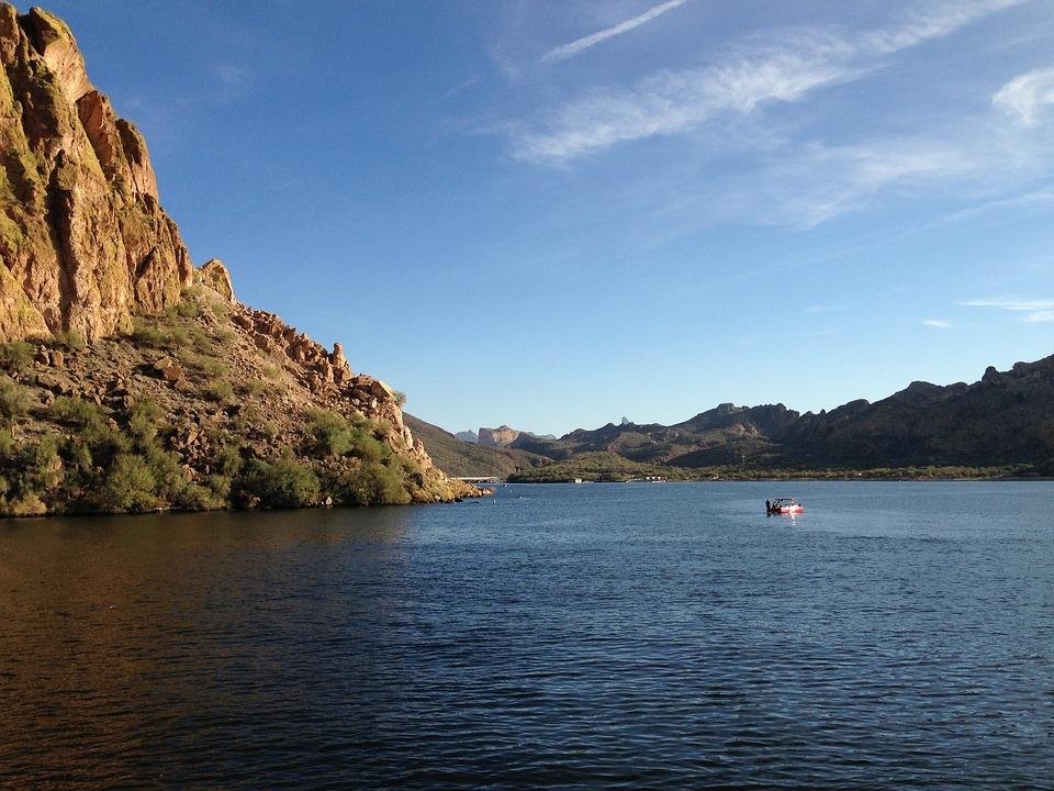 Arizona, Lake, Mountains, Sky