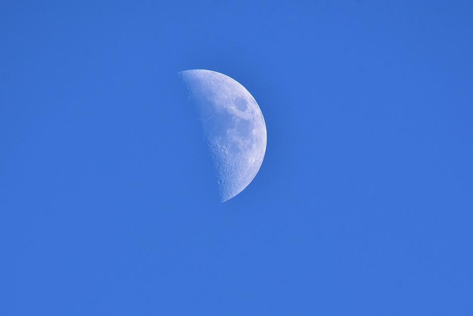 Moon, Sky, Blue, Half Moon, Space, Mood, Astronomy