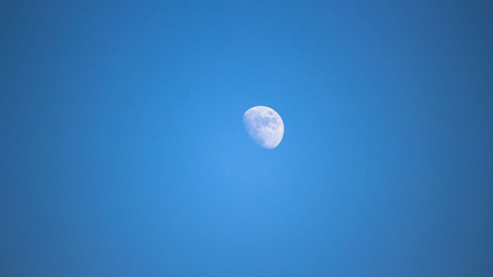 Blue, Moon, Sky, Telephoto, At Dusk
