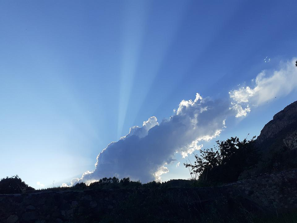 Sky, Cloud, Sunbeams, Backlight, Sunset
