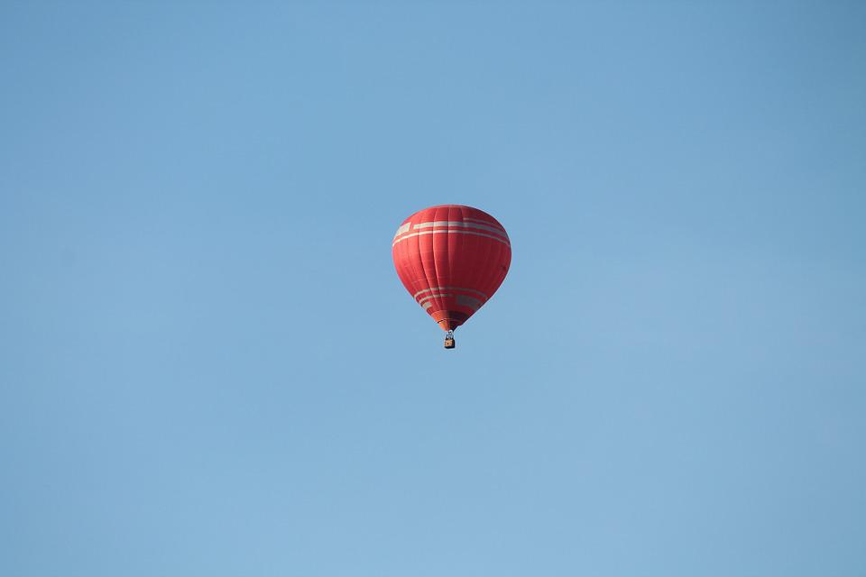 Sky, Hot Air Balloon, Balloon, Red, Partly Cloudy, Blue