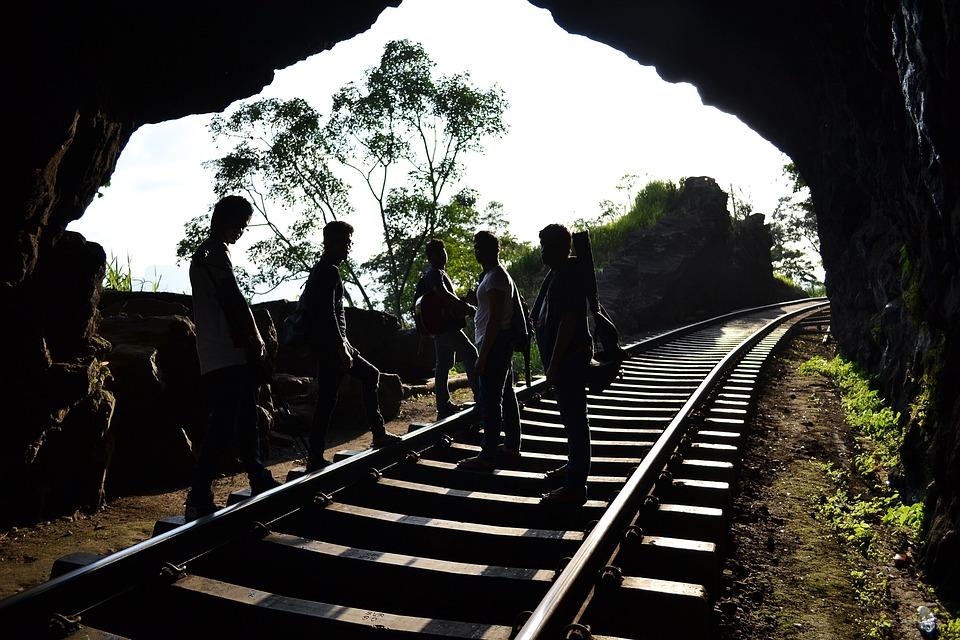 Boy, Boys, Men, Guitar, Band, Sky, White Sky, Rail Road