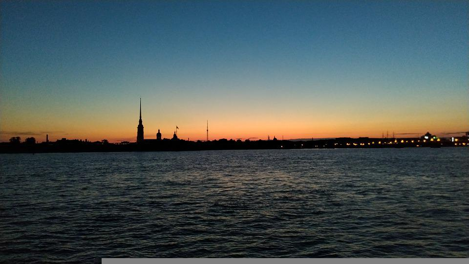 Dawn, River, Neva, Water, Bay, Fortress, Nature, Sky