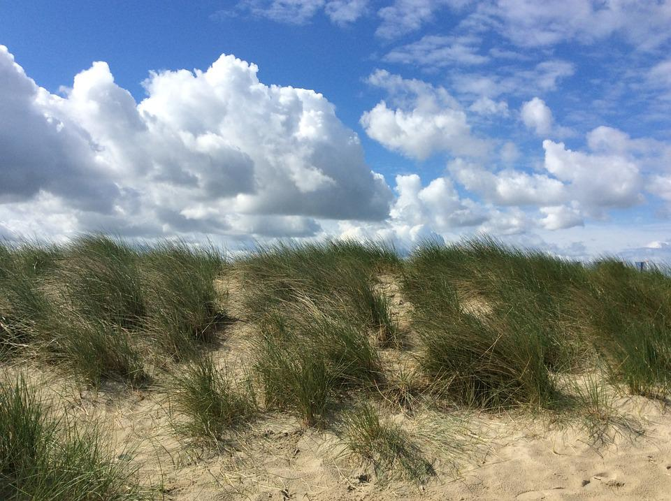 Beach, Dunes, Dune Grass, Sand, Clouds, Sky, North Sea