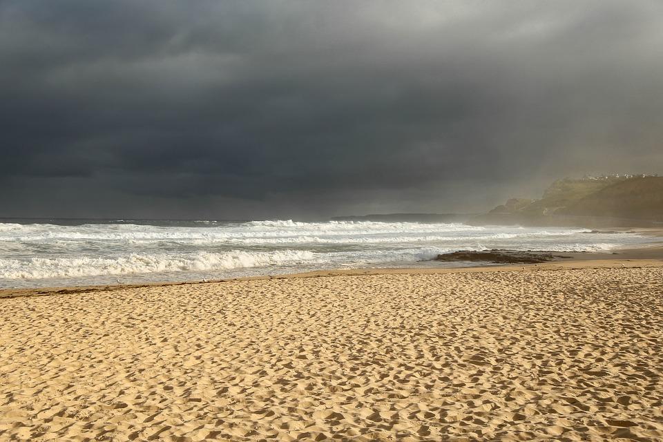 Beach, Storm, Sand, Sky