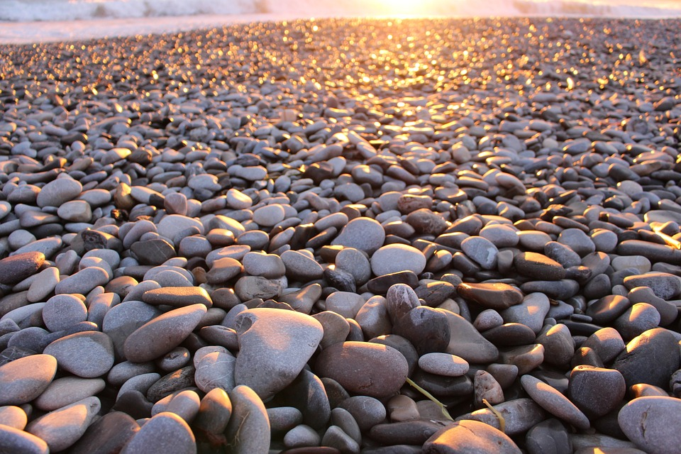 Pebble, Nuclei, Beach, Sky, Sun
