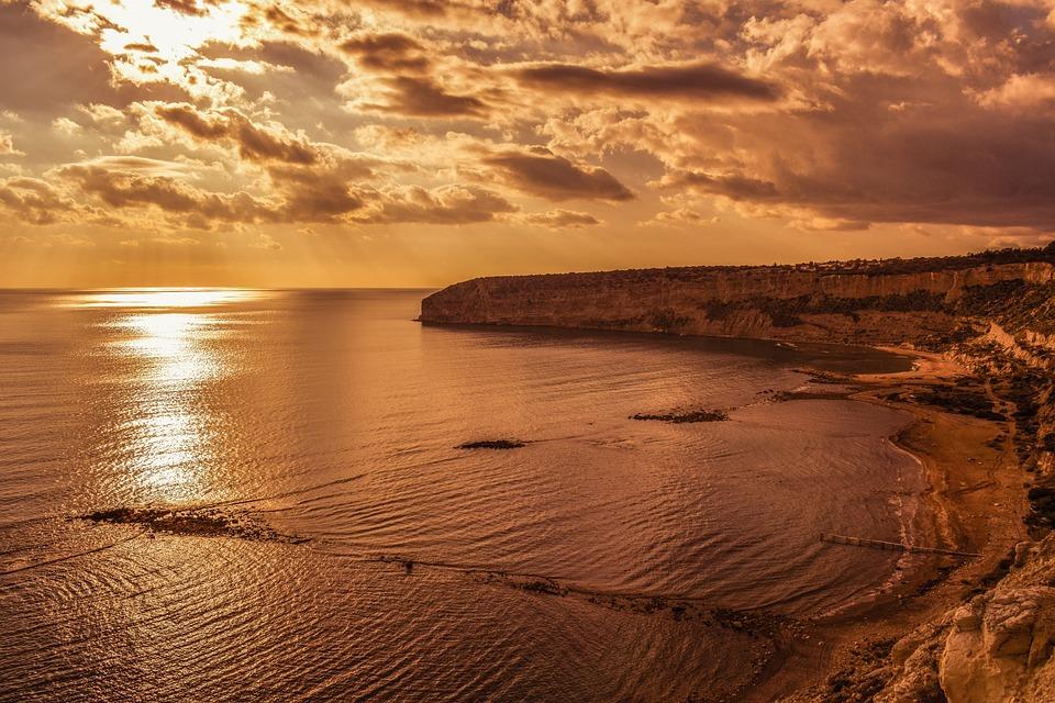 Beach, Sea, Sunset, Landscape, Sky, Clouds, Sunlight