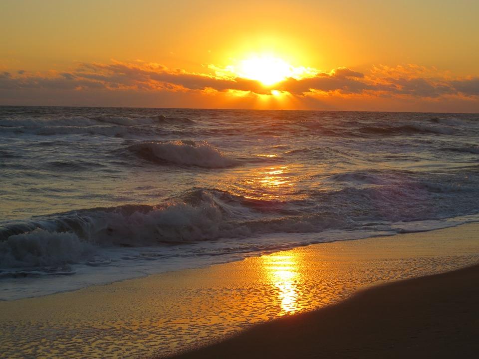 Ocean, Sunrise, Sunset, Sea, Water, Beach, Sky, Dawn
