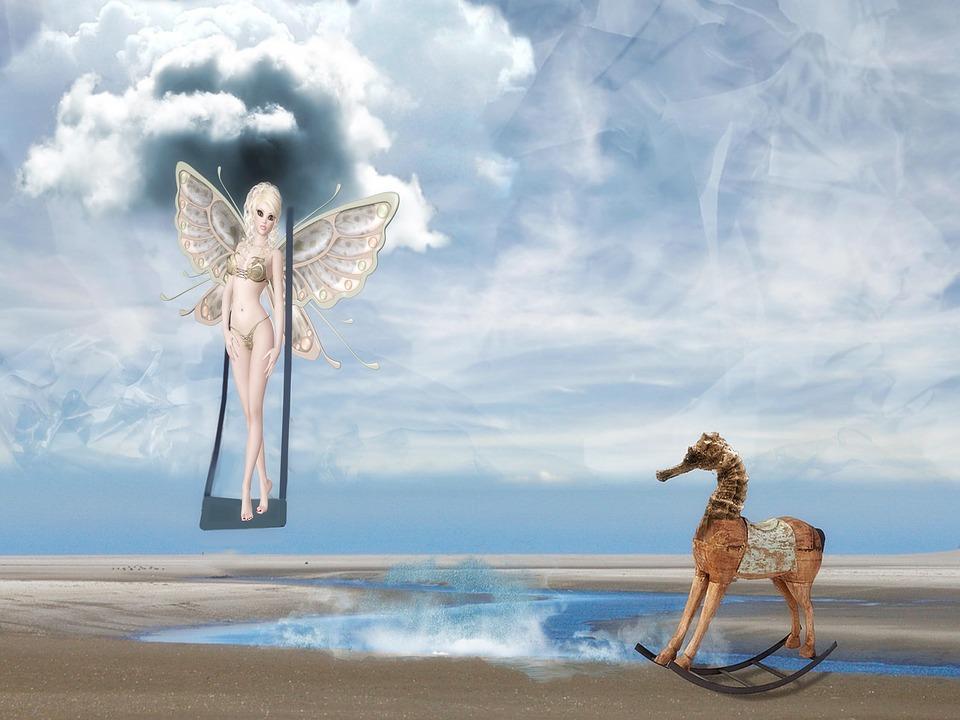 Fairy, Sweet, Surreal, Beautiful, Fantasy, Sky, Swing
