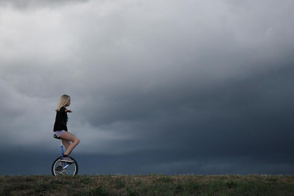 Cycling, Cycle, Sky, Cloudburst, Girl, Bike, Nature