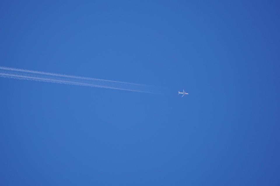 Sky, Blue, Aircraft, Contrail