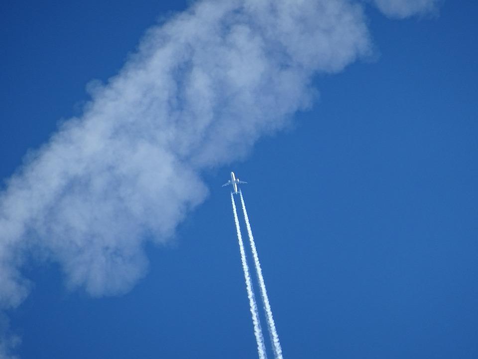 Aircraft, Clouds, Contrail, Sky, Blue, Clear Air