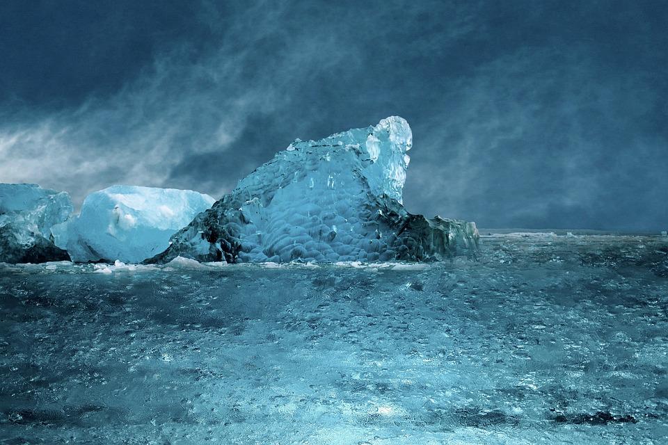Sea, Ice, Blue, Cold, Sky, Clouds, Arctic, Snow, Frozen